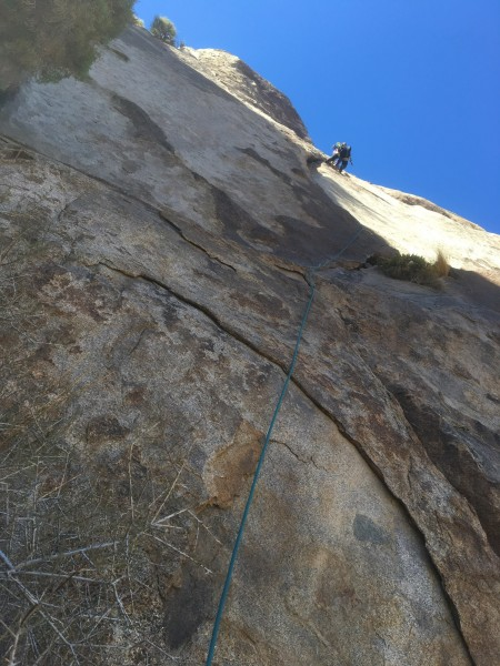 Batrock aka Kevin Mokracek nearing the top of the first pitch of 3 pit...