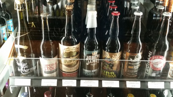 Just one of six shelves in one of five fridges of stouts