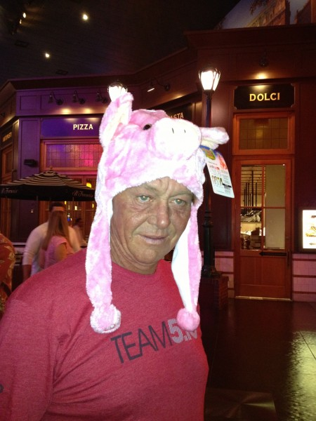He just had to have this pig hat, an added bonus was that it came with...