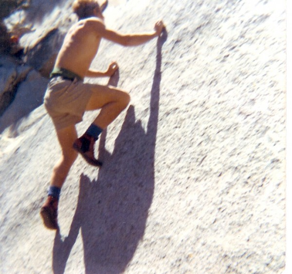Bouldering at the base of Suicide