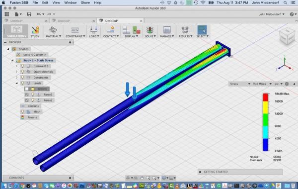 "Stress Comparison between 1.25"" and 1.125"" 6061-T6 Aluminium Tubes &#4..."