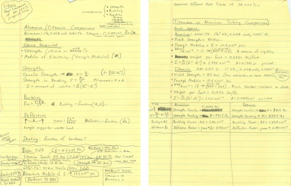 initial engineering notes for A5 titanium ledges, circa late 1980's