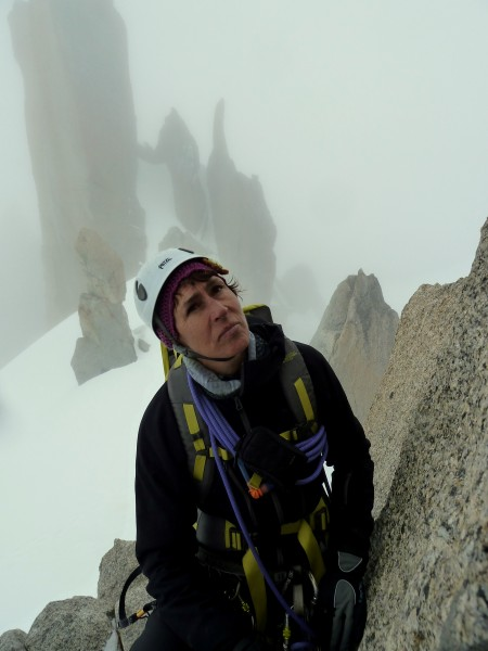 My friend Josee on Arete de Cosmiques. We were stuck behind another pa...