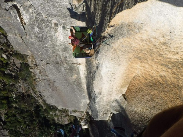 The D4 makes for a great belay ledge. Had it packed and shoved in the ...