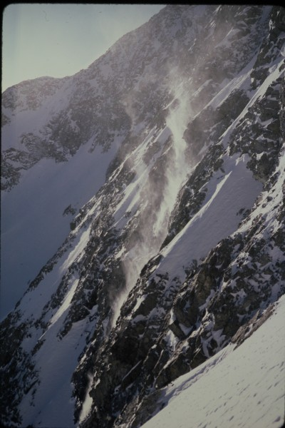 Looking across at the face from the lower part of the central couloir.