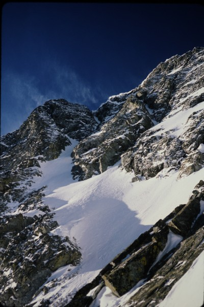 Looking up the central couloir.  The buttress to its right is where Ji...