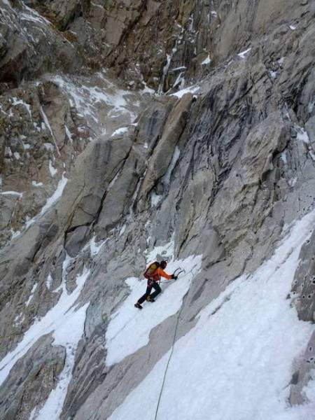 Following Nick on the first short pitch to get across some dry slabs &...