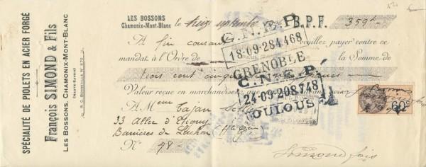 Francois Simond - receipt nr 78 - 16.09.1926