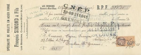 Francois Simond - receipt nr 469 - 22.09.1928