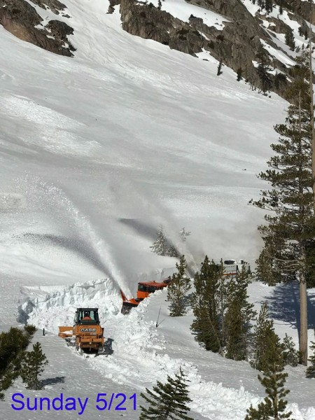 Caltrans crews inching through 20' drifts on the Sonora Pass/SR-108. —...