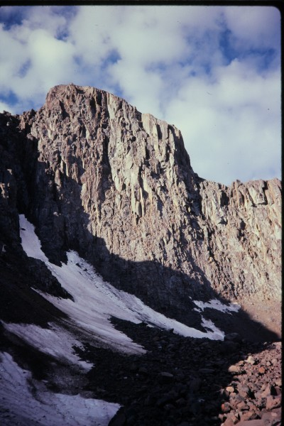 The north face of Wetterhorn Peak is about 1,200 ft high and composed ...