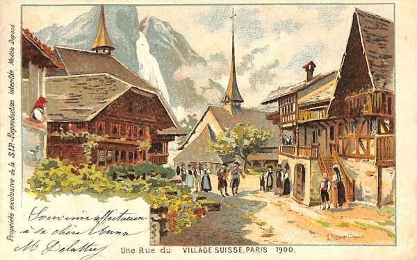 PARIS EXPOSITION UNIVERSELLE WORLD FAIR VILLAGE SUISSE VIGNETTE 1900