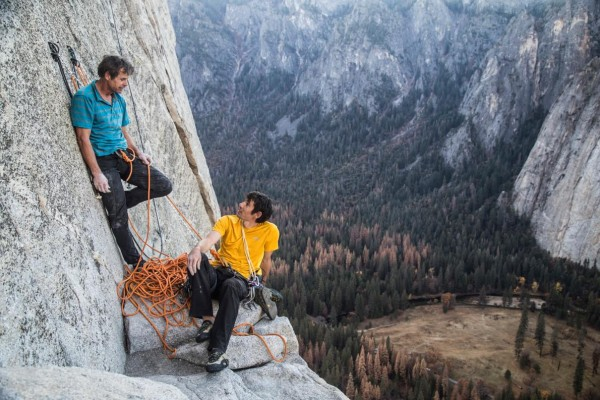 Honnold with Peter Croft on a recon climb of Freerider.