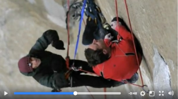 Belaying Tommy Caldwell on Dawn Wall for Nikon clip shot by Corey Rich