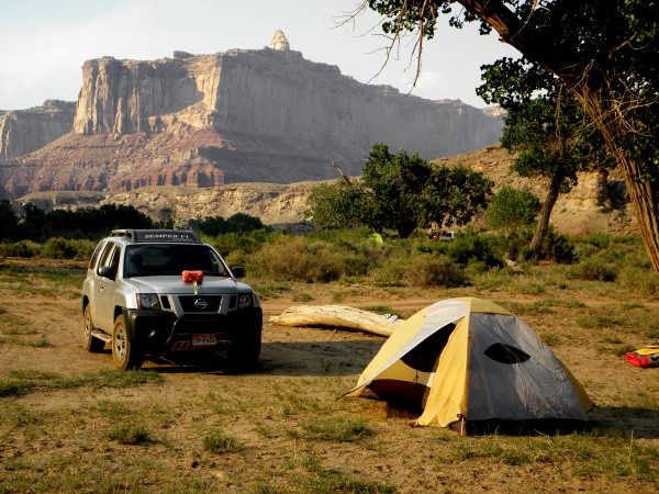 Camped on the wrong side of a lovely cottonwood tree that offered virt...