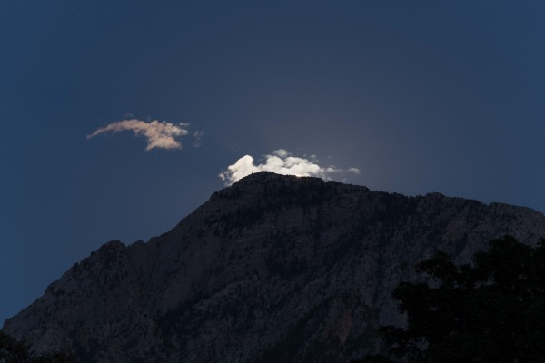 Moon, cloud and Mt. Olympus