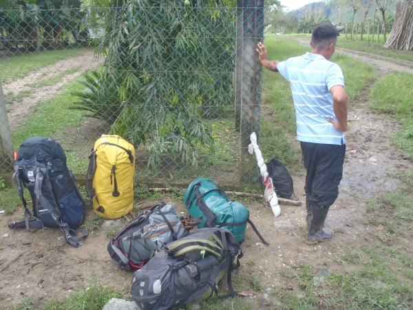 Humberto and our gear waiting for the muleteer
