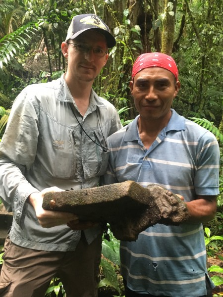 Humberto and me with weird headed metate