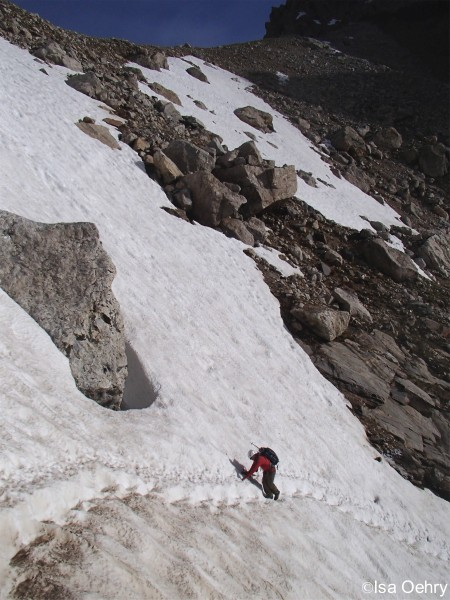 Nick crossing the precarious snow field