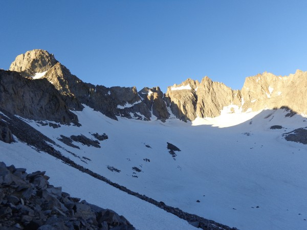 View of the approach to Glacier nothch, Mt. Sill and the Palisade Cres...
