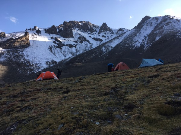 Camp at the base of Sauyr Zhotasy East. Photo Mitch Murray