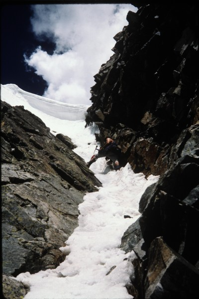 As the couloir steepens near the top Charlie prepares to stem between ...