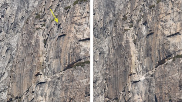 West Face rockfall source before (left) and after (right&#...