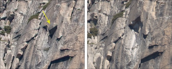 West Face rockfall source before (left) and after (right)
