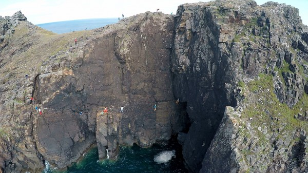 The sea cliff classic called Right Angle at Gurnard's Head in Cornwall...