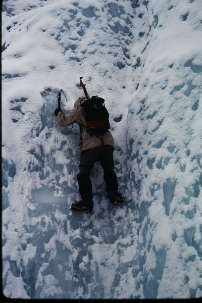 Jim Nigro soloing a small step near the bottom of the climb.