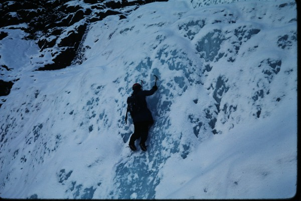 Nick soloing the bluest ice ever encountered by any of us.