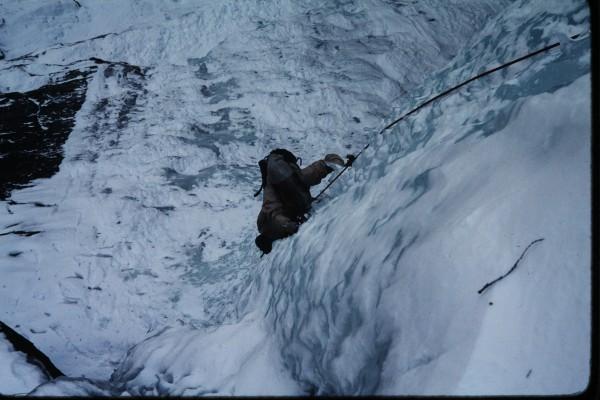 Jim climbing the pillar.