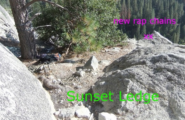 new rap anchor on Sunset Ledge (top of Serenity out of view to right).