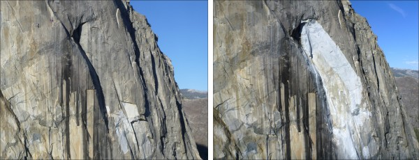 Before-and-after comparison of the 28 September 2017 rockfall.  Left p...