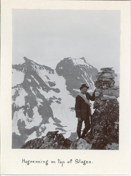 Elias Hogrenning on the top of Slogen - around 1907