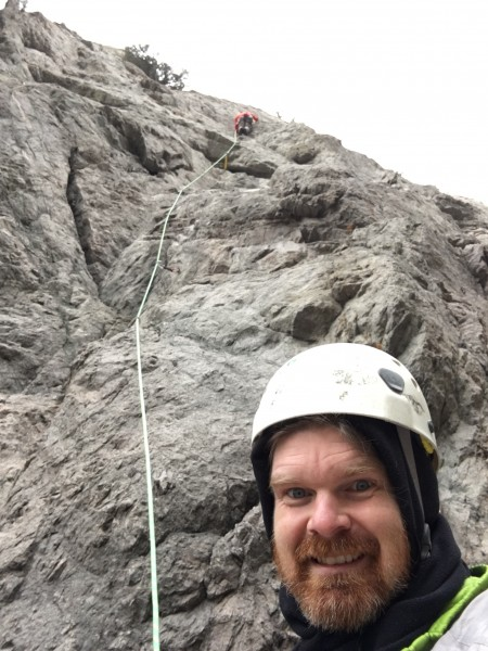 Attentive belay! (I was going by feel)