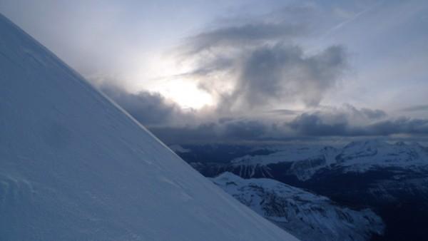 4.2 heading up the north face, with the sun heading towards the horizo...