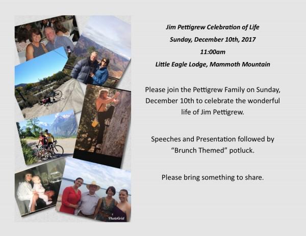 Hello friends of Jim Pettigrew. Please come celebrate his life. We are...