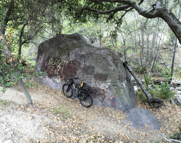 at the San Dimas Canyon boulder for a little burn