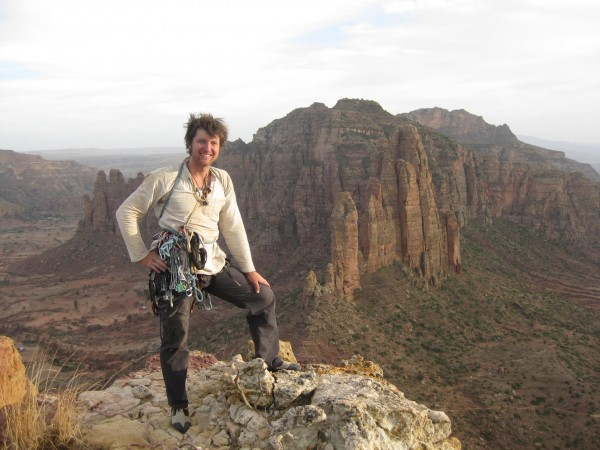 Niels on top of an unclimbed tower in the northern desert of Ethiopia....