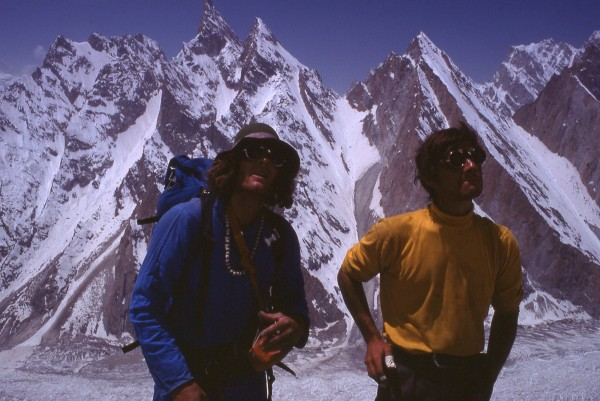 Our heroes gazing up at Lobsang Peak with Lobsang Spire in the backgro...