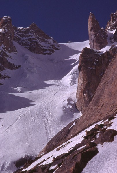 "The ""great couloir"" on Lobsang Peak"