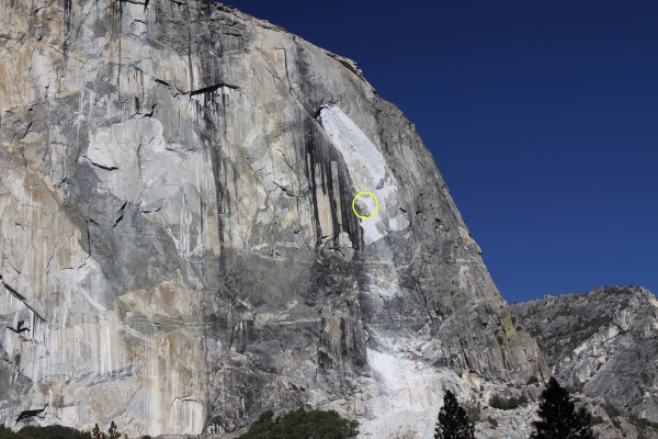 Photo of recent rockfall area on El Capitan, showing location of detac...