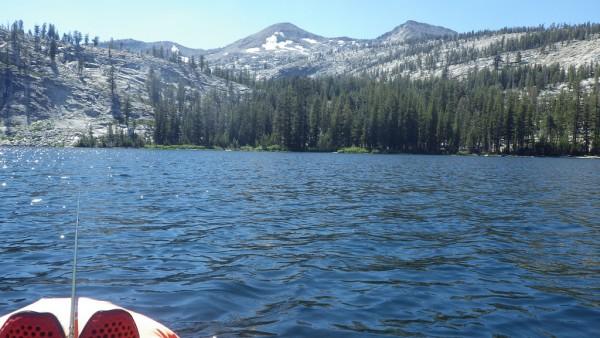 Packraft fishing a Sierra lake