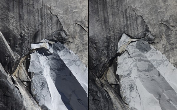 Before-and-after photos showing the location of a small rockfall occur...