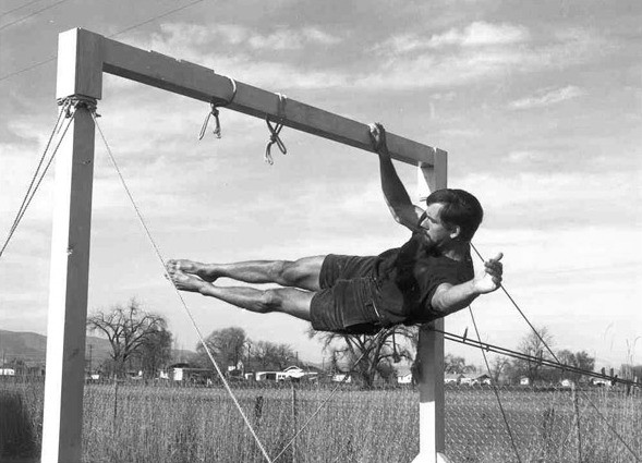 One-arm front lever, John Gill, 1960's
