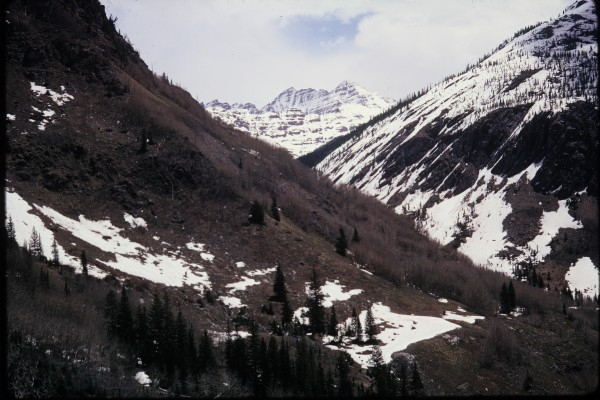 Looking up the Crystal River Valley towards the Maroon Bells.
