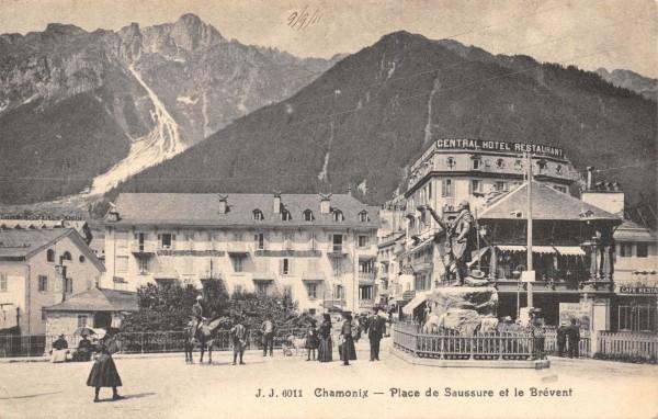 Chamonix. Place de Saussure with the Balmat and de Saussure statue. Th...