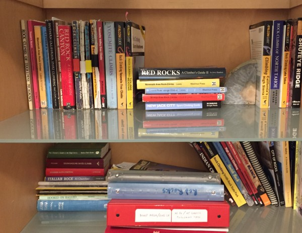 Two shelves of guidebooks