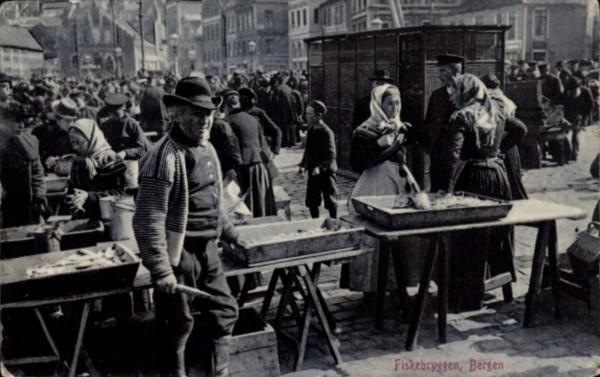Bergen - Fiskebryggen 1908
